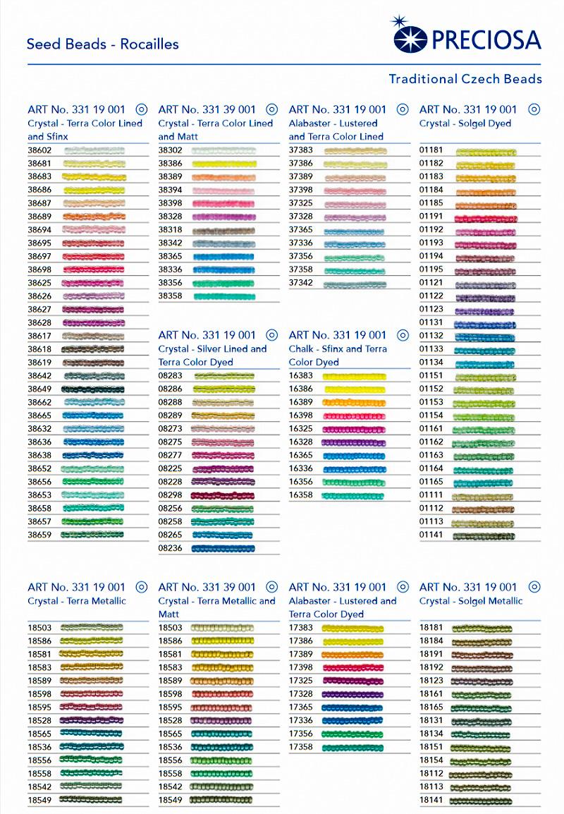 Каталог чешского бисера по номерам и цветами