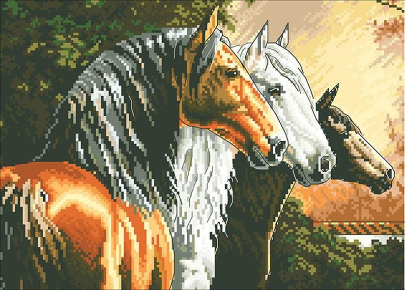 Вышивка Лошади на реке. Вышивка крестом лошади схемы скачать ...   591x824