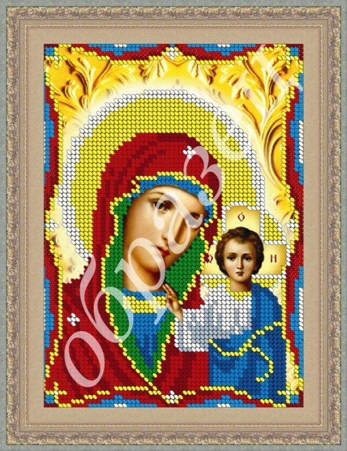 Вышивка бисером схема икона казанская